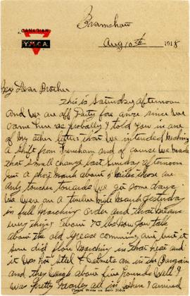 Letter from Weldon Morash to his brother Lloyd dated 10 August 1918