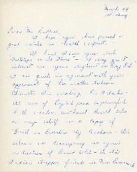 Correspondence between Thomas Head Raddall and Mrs. R. Christie