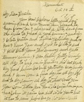 Letter from Weldon Morash to his brother Lloyd dated 14 October 1918