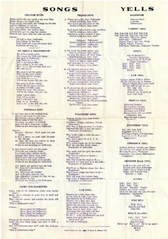 Lyrics for college songs and yells - Archives Catalogue and Online ...
