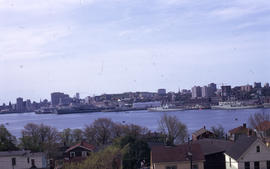 Photograph of the Halifax Harbour with buildings and ships