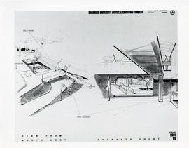 Photograph of architectural drawings of the Dalplex