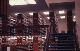 Photograph of the W.K. Kellogg Health Science Library staircase and second floor