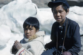 Photograph of two boys in Frobisher Bay, Northwest Territories