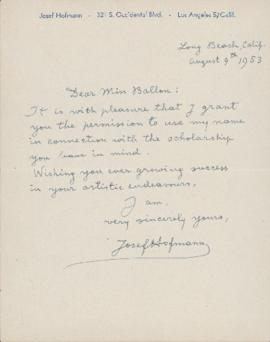 Letter from Josef Hofmann to Ellen Ballon