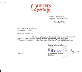 Correspondence between Thomas Head Raddall and the Queen's Quarterly