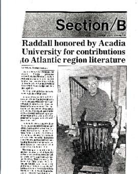Raddall Honored by Acadia University for contributions to Atlantic region literature : [clipping]
