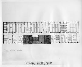 Drawing of the layout of a typical research floor in the Sir Charles Tupper Medical Building