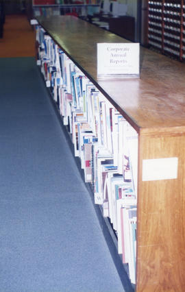 Photograph of the corporate annual reports collection held at the Killam Memorial Library, Dalhou...