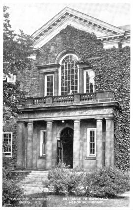 Postcard of the MacDonald Memorial Library entrance