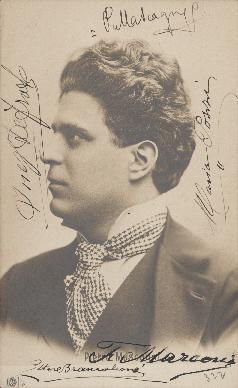 Postcard featuring Pietro Mascagni and signed by various musicians