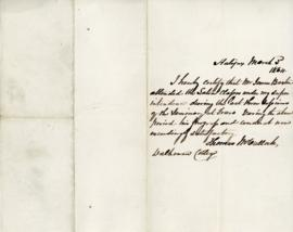 Letter from Thomas McCulloch certifying that James Baxter attended Latin classes