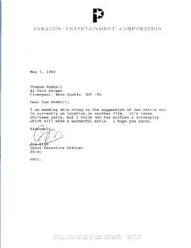 Correspondence between Thomas Head Raddall and Paragon Entertainment Company