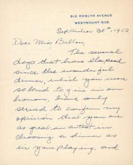 Letter from Walter de Mouilpied Scriver to Ellen Ballon