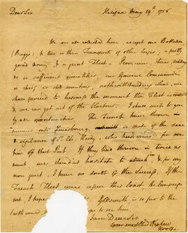 Autograph letter from James Wolfe to his uncle, Major Walter Wolfe, of Dublin