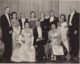 Group photograph including Dr. David Thomson, Samuel Bronfman, Mrs. Bronfman, Sir Ernest MacMillan, and Ellen Ballon