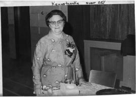 Photograph of Mrs. Viola Hanes at her retirement after twenty-five years of service on the exchange in Kennetcook Nova Scotia