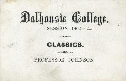 Ticket to a classics class at Dalhousie College