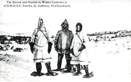 Photograph of The Doctor and Nurses in Winter Costume at Royal National Mission Deep Sea Fisherma...