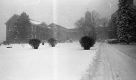 Photograph of Studley campus in the winter