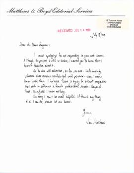 "Correspondence relating to Time Magazine: ""In Celebration of Canadian Women"""