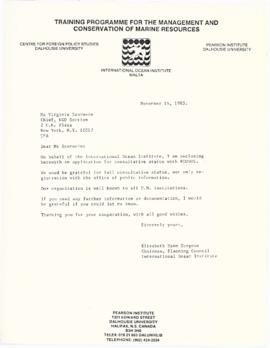 Correspondence between Elisabeth Mann Borgese and the United Nations Economic and Social Council ...