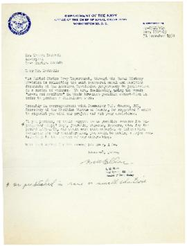 Correspondence between Thomas Head Raddall and Rear Admiral E. M. Eller