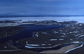 Photograph of islands and ice in Frobisher Bay, Northwest Territories