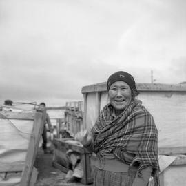 Photograph of Minnie Manna wearing a tartan shawl in Fort Chimo, Quebec