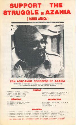 Support the struggle in Azania : [poster for lectures by David Sibeko of the Pan Africanist Congr...