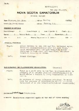 Medical Report from the Nova Scotia Sanatorium regarding Mr. John Bigelow