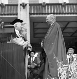 Photograph of a degree recipient at the Dalhousie medical centennial convocation ceremony