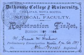 J. Frank McMahon's registration card and class certification tickets from the Halifax Medical Col...