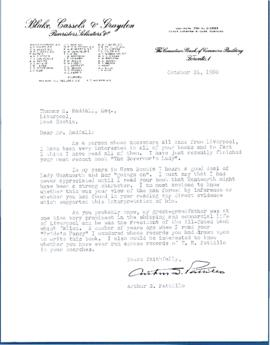 Correspondence between Thomas Head Raddall and Arthur S. Pattillo
