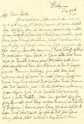 Letter from Weldon Morash to his sister Gertrude dated 29 December 1918