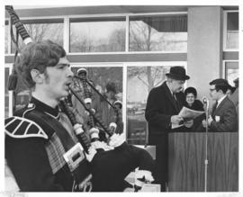 Photograph of Lieutenant-Governor Victor deB. Oland at the opening of the Student Union Building