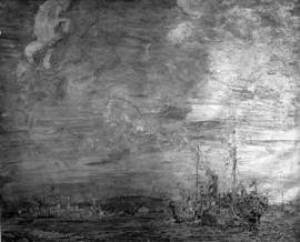 Photograph of a painting with a ship in harbour