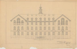 Technical drawing of the south elevation of a Dalhousie arts building