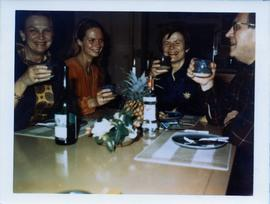 Photograph of Elisabeth Mann Borgese and others dining