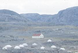 Photograph of a church and several tents in Cape Dorset, Northwest Territories