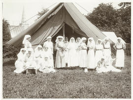 Photograph of nursing sisters in front of matrons tent at the Dalhousie No.7 Stationary Hospital