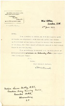 Letter from L.D. Holland to Laura Hubley