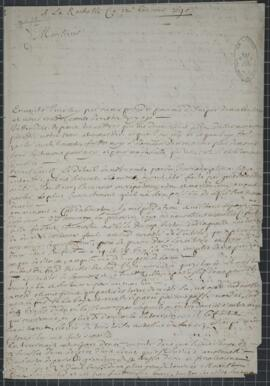 An autograph letter of Saccardy, describing in detail his voyage round Acadie, and including in t...