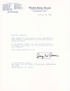 Correspondence with George McGovern