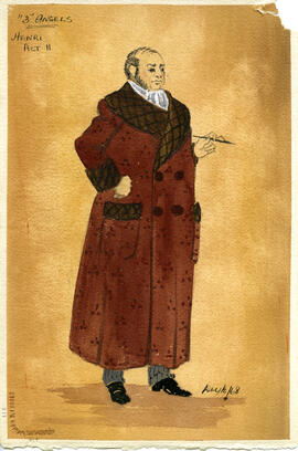 Watercolour costume design featuring an older man in a smoking jacket