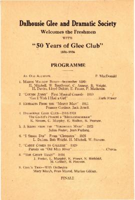 "Program from the Dalhousie Glee and Dramatic Society's performance of ""Fifty Years of Glee Club, ..."