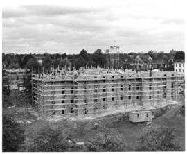 Photograph of the construction of Howe Hall