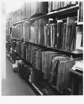 Photograph of book shelves at the Dalhousie University Archives