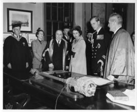 Photograph of Princess Elizabeth, the Duke of Edinburgh, and others in the Macdonald Memorial Lib...