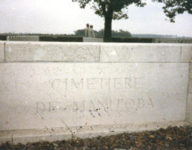 Photograph of the sign outside of the Manitoba Cemetery near Caix, France
